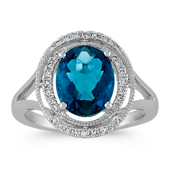 Oval London Blue Topaz and Round Diamond Ring