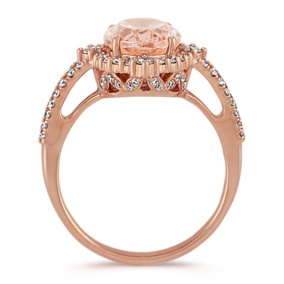 Oval Morganite and Diamond Ring in Rose Gold image