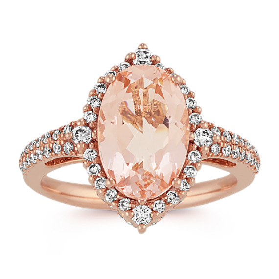 Oval Morganite and Diamond Ring in Rose Gold