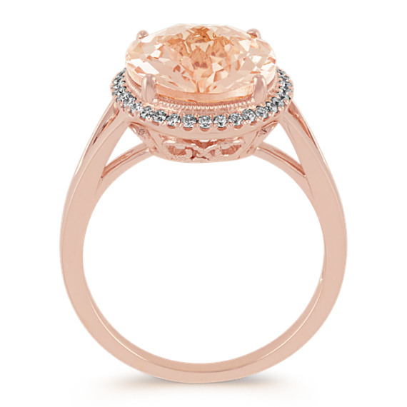 Oval Morganite and Diamond Rose Gold Halo Ring image
