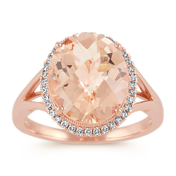 Oval Morganite and Diamond Rose Gold Halo Ring