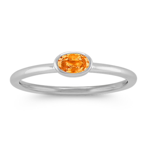 Oval Orange Sapphire Stackable Ring in 14k White Gold