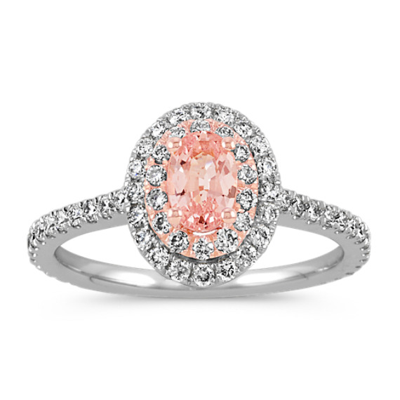 Oval Peach Sapphire and Round Diamond Halo Engagement Ring