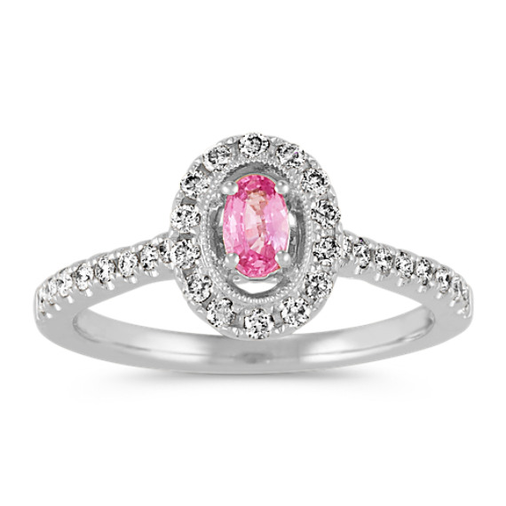 Oval Pink Sapphire Halo Ring in 14k White Gold