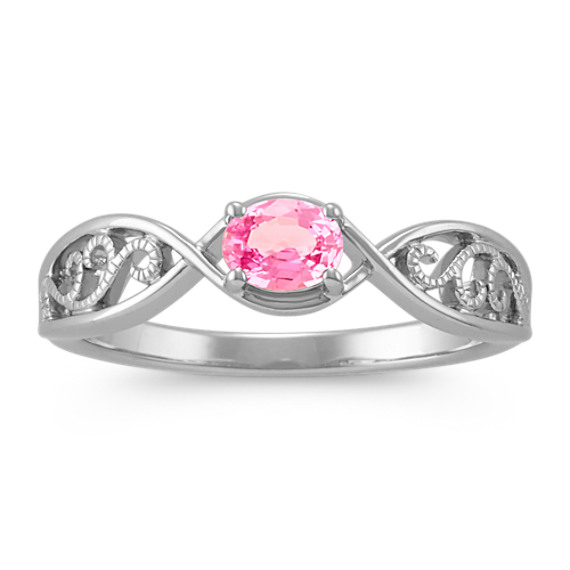 Oval Pink Sapphire Ring with Milgrain Detail in Sterling Silver