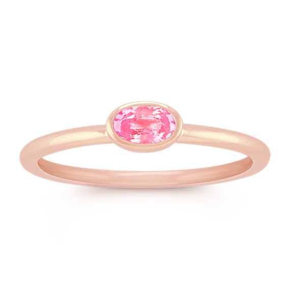 Oval Pink Sapphire Stackable Ring in 14k Rose Gold
