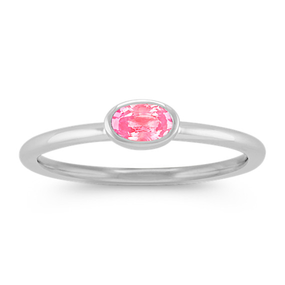 Oval Pink Sapphire Stackable Ring in 14k White Gold