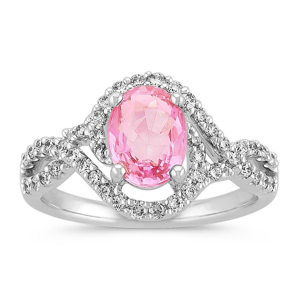 Oval Pink Sapphire and Diamond Swirl Fashion Ring | Shane Co.