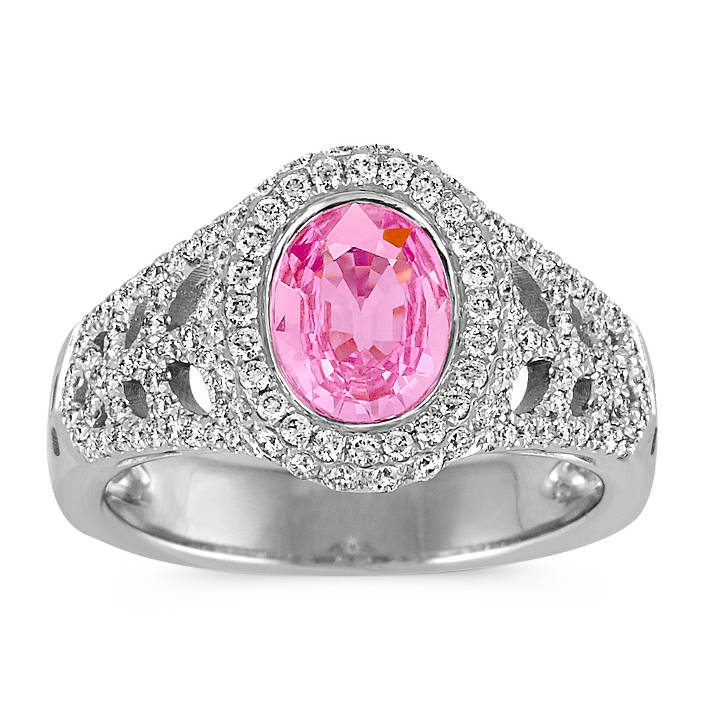 Oval Pink Sapphire and Round Diamond Halo Ring | Shane Co.