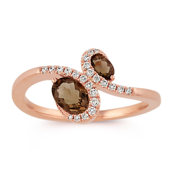 Oval Smokey Quartz and Diamond Ring in 14k Rose Gold