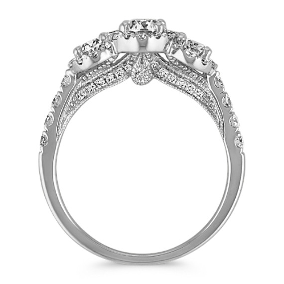 Oval Three-Stone Halo Diamond Engagement Ring image