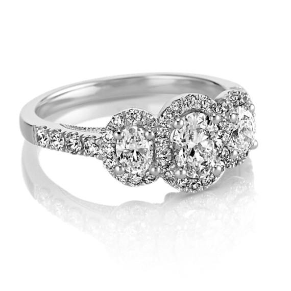 Oval ThreeStone Halo Diamond Engagement Ring Shane Co