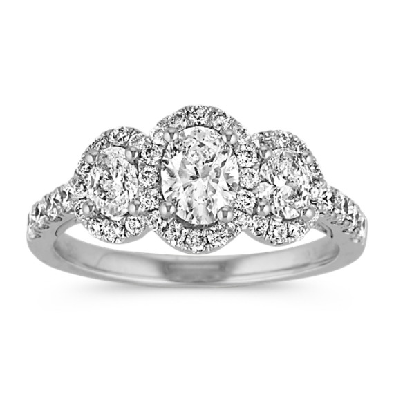 Oval Three-Stone Halo Diamond Engagement Ring