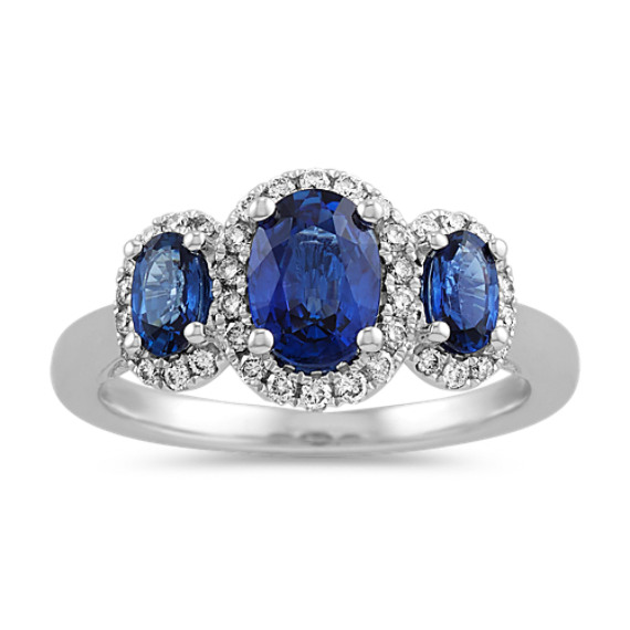 Oval Three-Stone Traditional Blue Sapphire and Diamond Ring