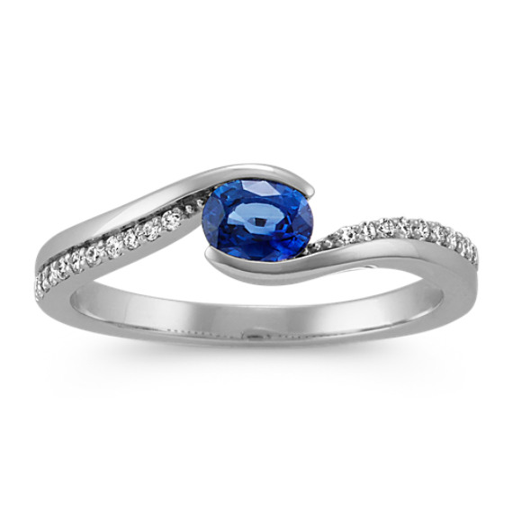 Oval Traditional Sapphire with Round Diamonds in Sterling Silver