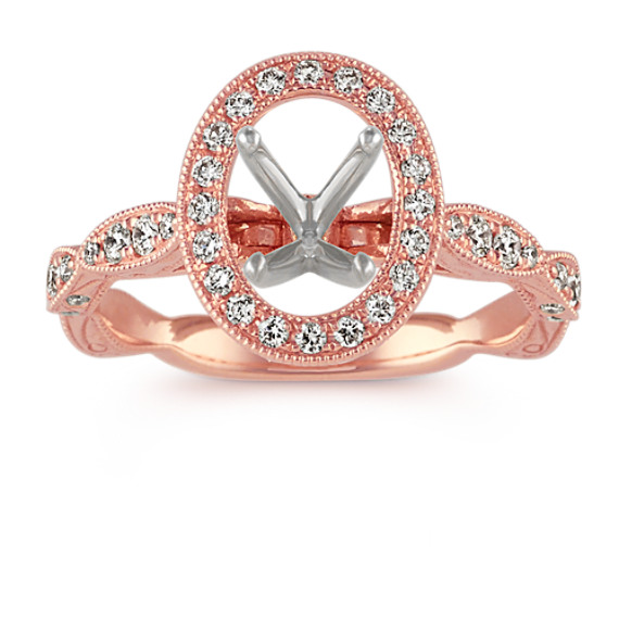 Oval Vintage Halo Engagement Ring in 14k Rose Gold