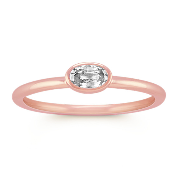 Oval White Sapphire Stackable Ring in 14k Rose Gold
