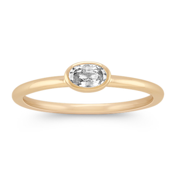 Oval White Sapphire Stackable Ring in 14k Yellow Gold
