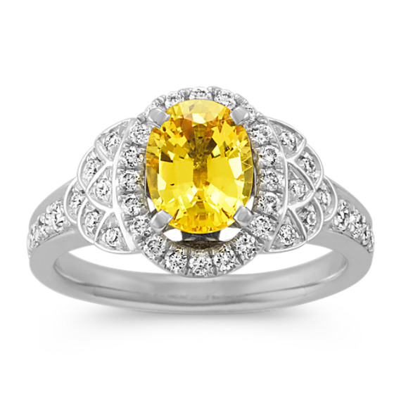 Oval Yellow Sapphire and Diamond Halo Ring in 14k White Gold