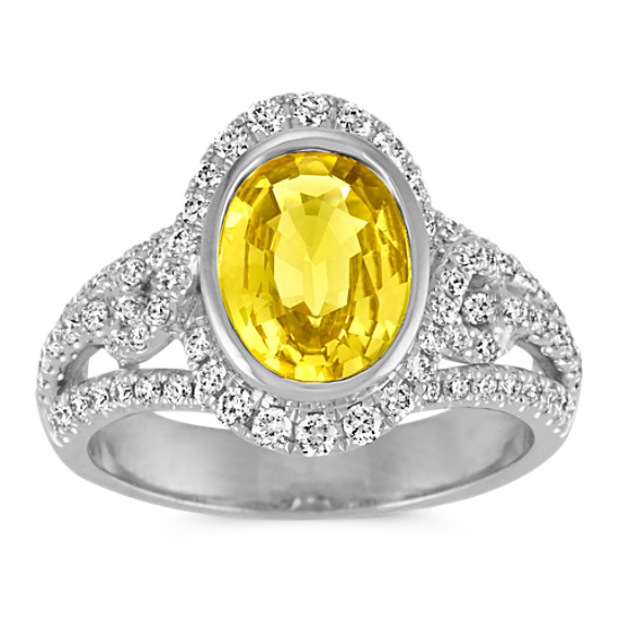 Oval Yellow Sapphire and Round Diamond Halo Ring with Pave Setting