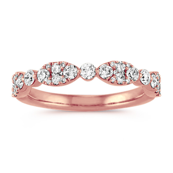 Oval & Round Diamond Cluster Band in 14k Rose Gold