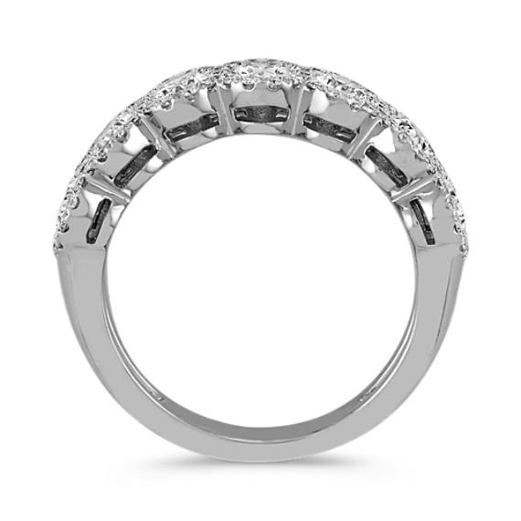 Oval and Round Diamond Halo Wedding Band image