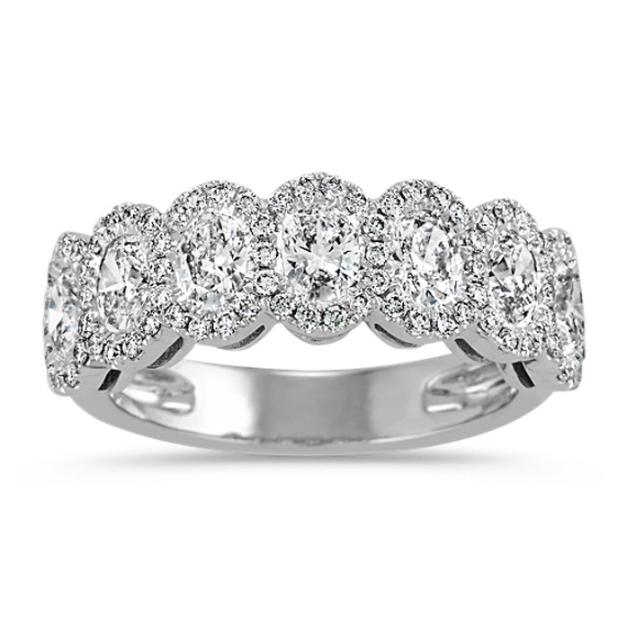 Halo Oval and Round Diamond Wedding Band