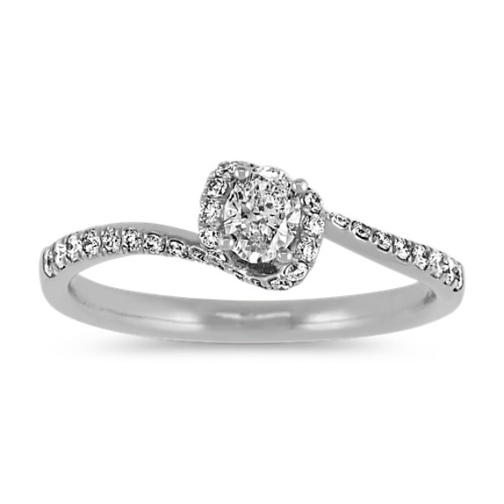 Oval & Round Diamond Swirl Ring in 14k White Gold