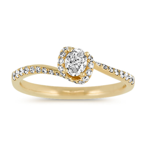 Oval & Round Diamond Swirl Ring in 14k Yellow Gold