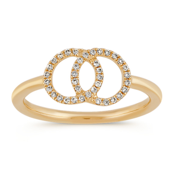 Overlapping Circle Diamond Ring in 14k Yellow Gold