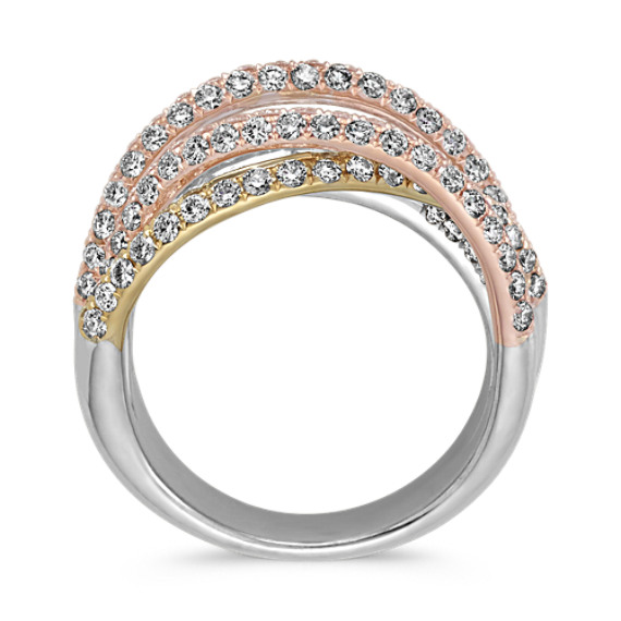 Overlapping Round Diamond Engagement Ring In 14k Tri-Tone