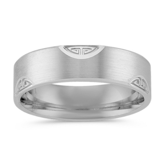 Patterned Comfort Fit Ring with Satin Finish (6mm)