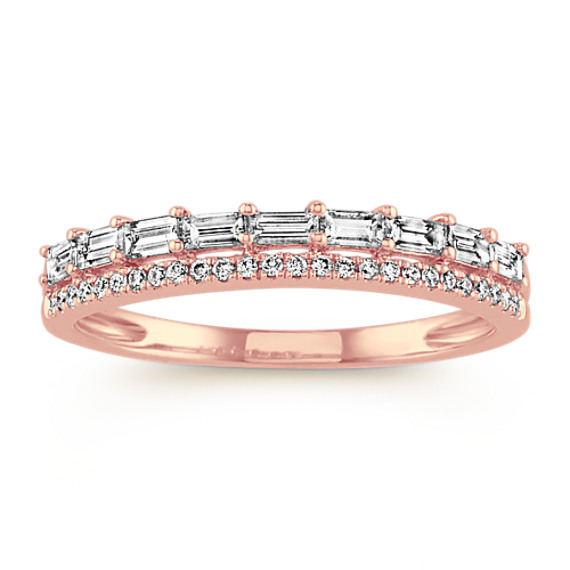 Pave Baguette & Round Diamond Wedding Band
