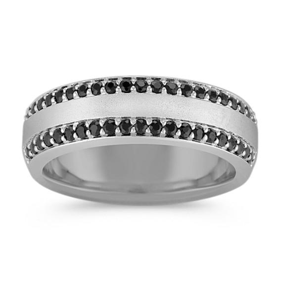 Pave-Set Black Sapphire Ring (7mm)