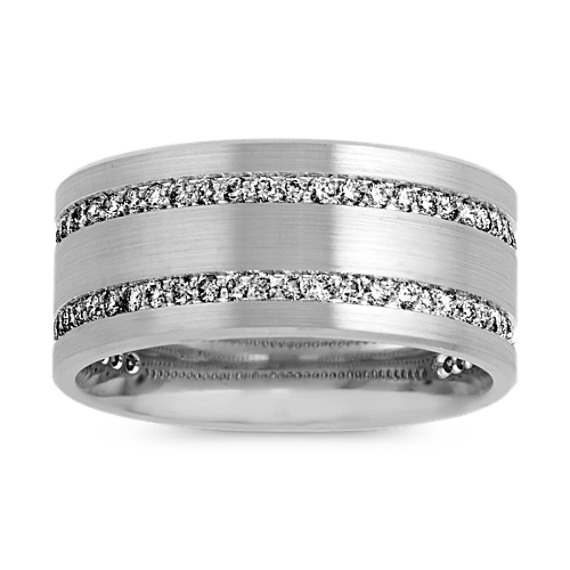 Pave-Set Diamond Band in 14k White Gold (10mm)