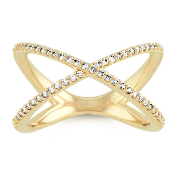 Pave-Set Diamond Criss-Cross Ring in 14k Yellow Gold