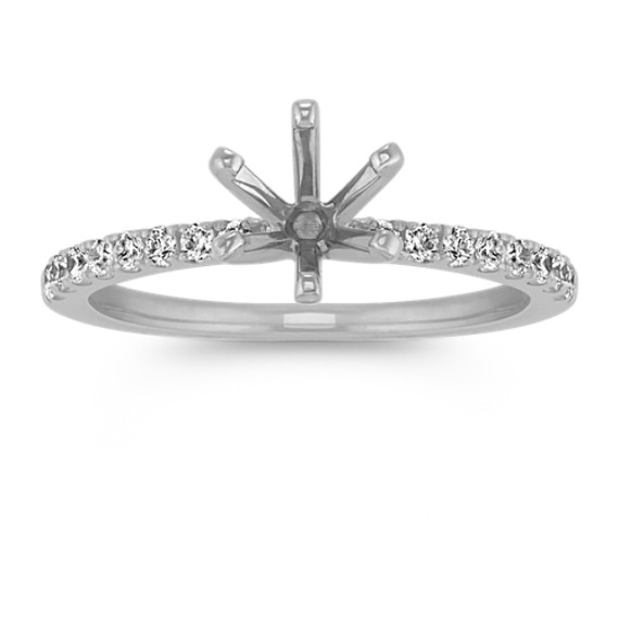 Pave-Set Diamond Engagement Ring in 14k White Gold