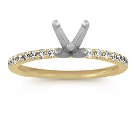 Pave-Set Diamond Engagement Ring in 14k Yellow Gold