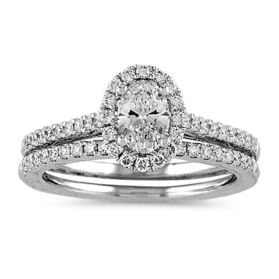 Pave-Set Diamond Halo Wedding Set