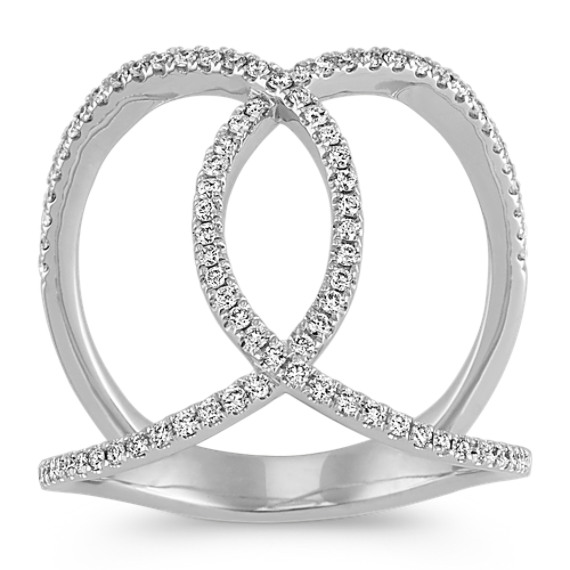 Pave-Set Diamond Ring in 14k White Gold