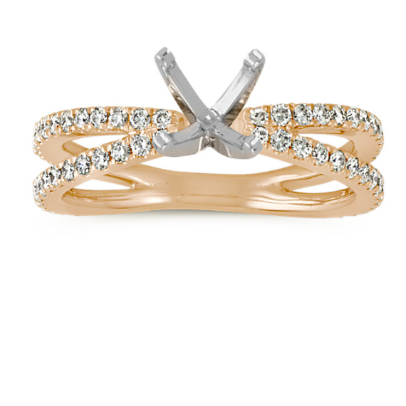 Pave-Set Diamond Split Shank Engagement Ring in 14k Yellow Gold