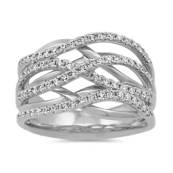 Pave-Set Diamond Swirl Ring in 14k White Gold