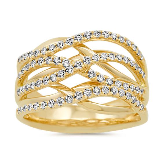 Pave-Set Diamond Swirl Ring in 14k Yellow Gold