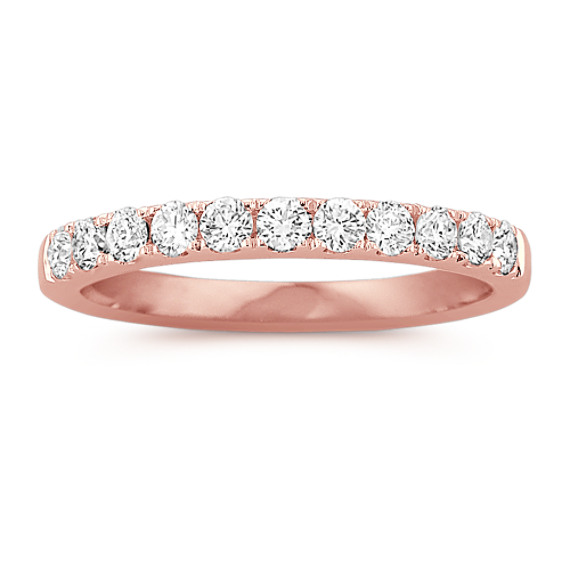 Pave Set Diamond Wedding Band in 14k Rose Gold