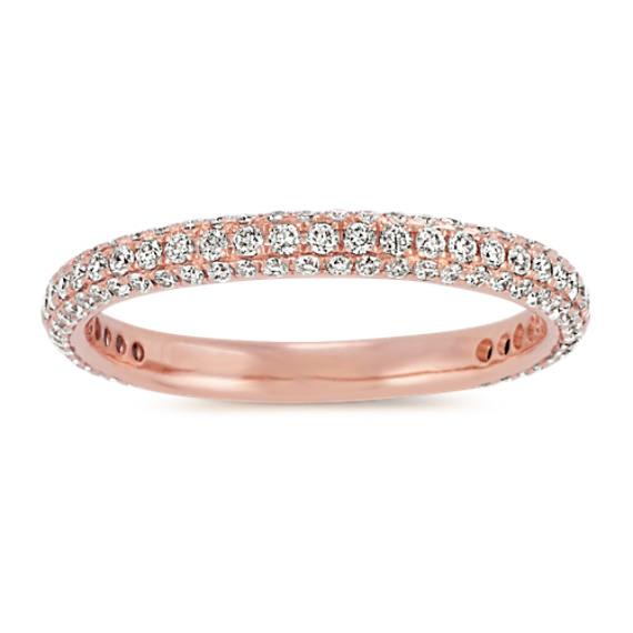 Pave-Set Diamond Wedding Band in 14k Rose Gold