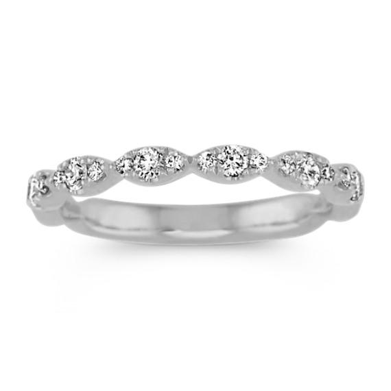 Pave-Set Diamond Wedding Band in 14k White Gold