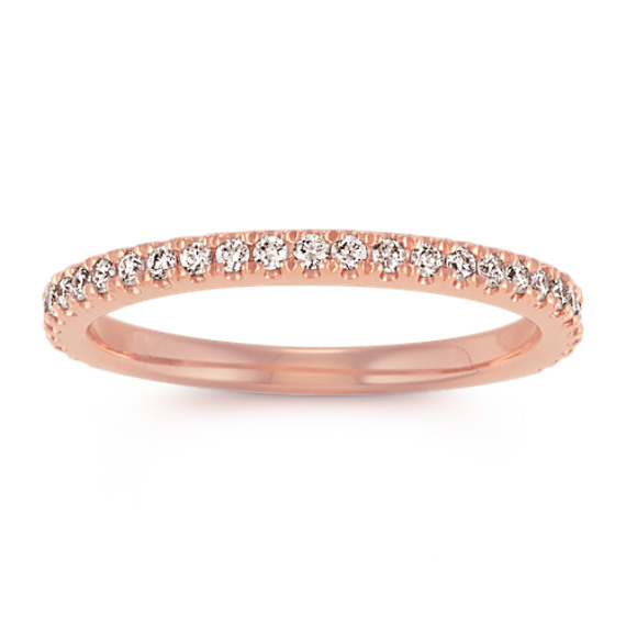 Pave-Set Diamond Wedding Band in Rose Gold