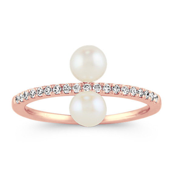 Pave-Set Diamond and Pearl Ring in 14k Rose Gold