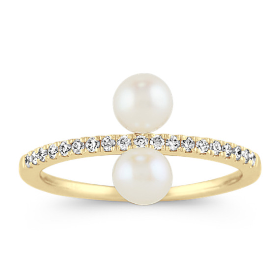 Pave-Set Diamond and Pearl Ring in 14k Yellow Gold