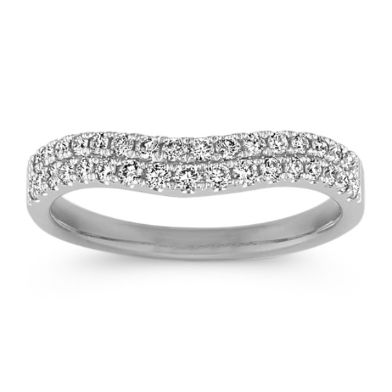 Pave-Set Double Row Diamond Contour Wedding Band